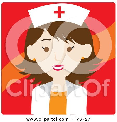 Royalty-Free (RF) Clipart Illustration of a Brunette Caucasian Avatar Nurse Woman Over Red by Rosie Piter