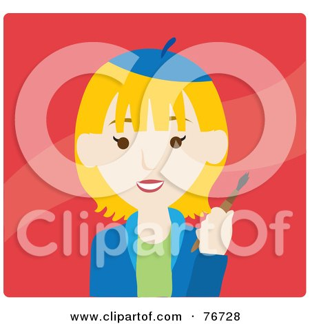 Royalty-Free (RF) Clipart Illustration of a Blond Caucasian Avatar Artist Woman On Red by Rosie Piter