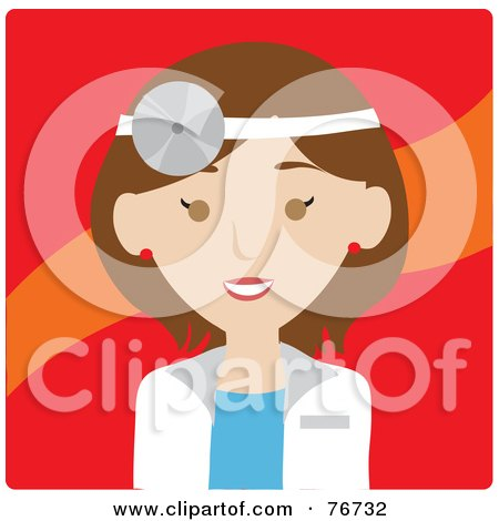 Royalty-Free (RF) Clipart Illustration of a Brunette Caucasian Doctor Avatar Woman Wearing A Head Lamp by Rosie Piter