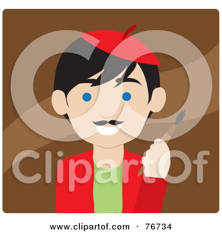 Royalty-Free (RF) Clipart Illustration of a Black Haired Caucasian Avatar Artist Man On Brown by Rosie Piter