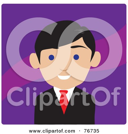 Royalty-Free (RF) Clipart Illustration of a Friendly Blue Eyed Male Lawyer Avatar Over Purple by Rosie Piter