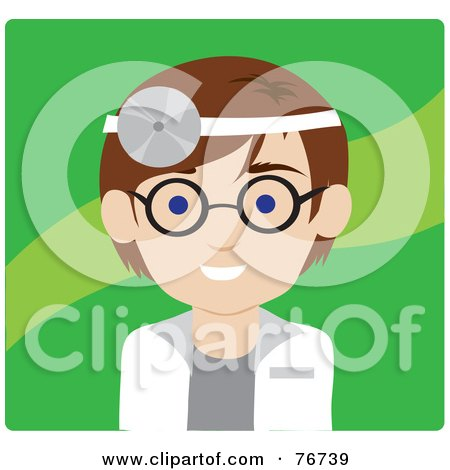 Royalty-Free (RF) Clipart Illustration of a Brunette Caucasian Doctor Avatar Man Wearing A Head Lamp by Rosie Piter