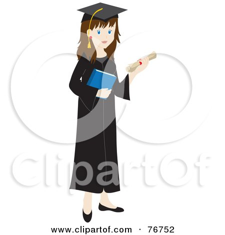 Royalty-Free (RF) Clipart Illustration of a Brunette Caucasian Female Graduate Holding Her Diploma And A Book by Rosie Piter