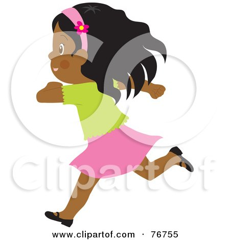 Royalty-Free (RF) Clipart Illustration of a Happy African American Girl Running by Rosie Piter