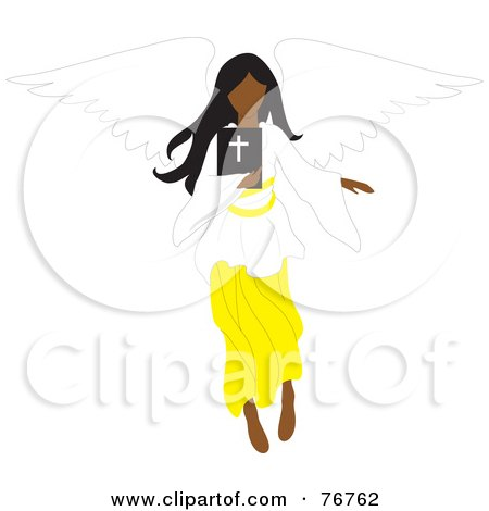 Royalty-Free (RF) Clipart Illustration of a Black Female Angel Flying With A Bible by Rosie Piter