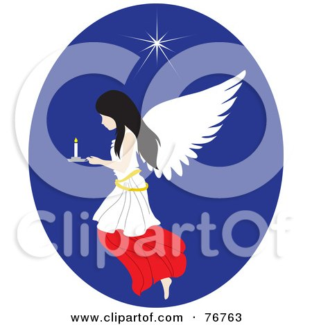 Royalty-Free (RF) Clipart Illustration of a Black Haired Female Angel Flying In A Blue Oval With A Candle And Star by Rosie Piter