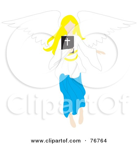 Royalty-Free (RF) Clipart Illustration of a Blond Female Angel Flying With A Bible by Rosie Piter