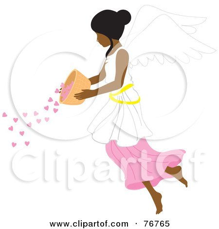 Royalty-Free (RF) Clipart Illustration of an Indian Female Angel Pouring Hearts From A Bowl by Rosie Piter