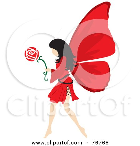 Royalty-Free (RF) Clipart Illustration of a Black Haired Female Fairy With Red Wings, Carrying A Flower by Rosie Piter
