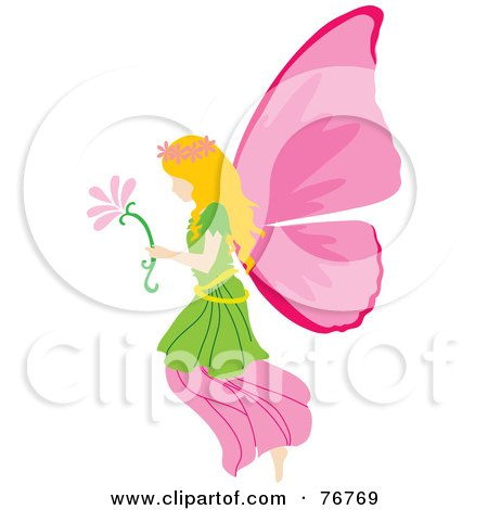 Royalty-Free (RF) Clipart Illustration of a Blond Female Fairy With Pink Wings, Carrying A Flower by Rosie Piter