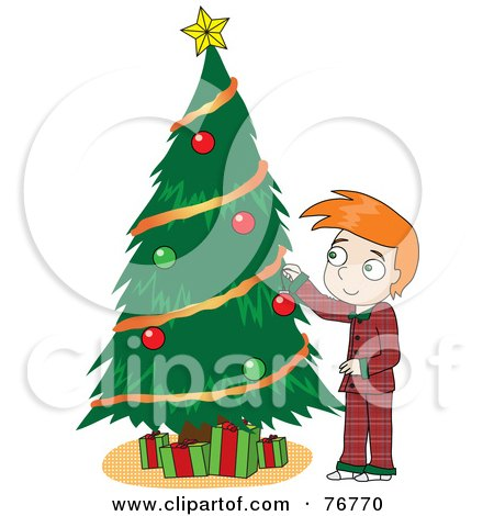 Royalty-Free (RF) Clipart Illustration of a Redhead David Boy In His Pajamas, Decorating A Christmas Tree by Rosie Piter