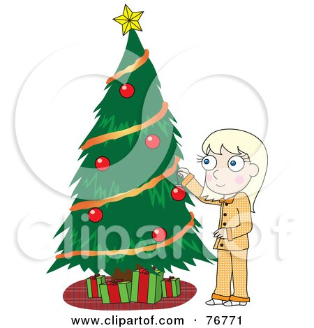 Royalty-Free (RF) Clipart Illustration of a Blond Girl In Her Pajamas, Decorating A Christmas Tree by Rosie Piter