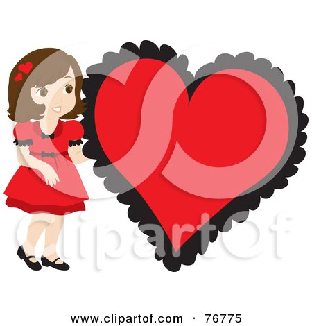 Royalty-Free (RF) Clipart Illustration of a Brunette Caucasian Girl In A Red Dress, Standing By A Big Red Heart by Rosie Piter
