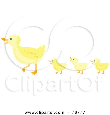 Royalty-Free (RF) Clipart Illustration of Three Yellow Ducklings Following Their Mother; Ducks In A Row by Rosie Piter