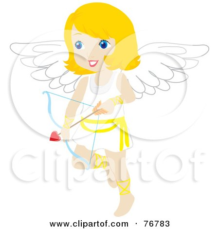 Royalty-Free (RF) Clipart Illustration of a Blond Female Cupid With A Heart Arrow by Rosie Piter