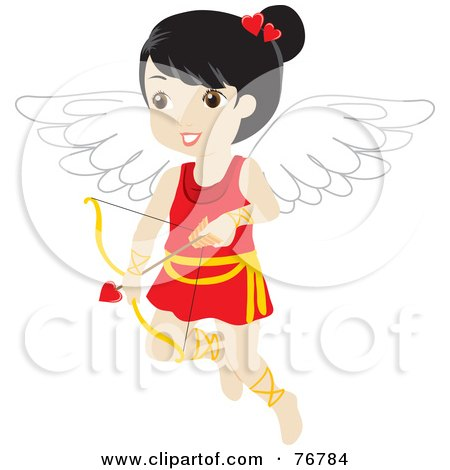 Black Haired Female Cupid With A Heart Arrow Posters, Art Prints