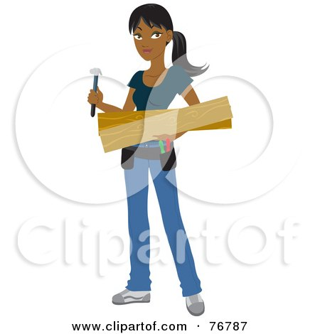 Royalty-Free (RF) Clipart Illustration of a Hispanic Builder Woman Carrying Lumber And A Hammer For A DIY Home Project by Rosie Piter