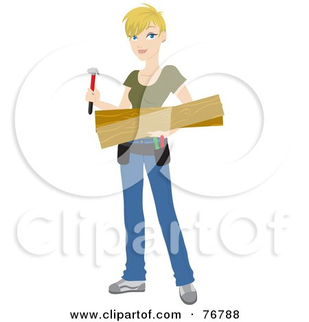 Royalty-Free (RF) Clipart Illustration of a Blond Caucasian Builder Woman Carrying Lumber And A Hammer For A DIY Home Project by Rosie Piter