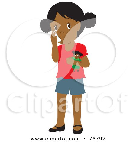 Royalty-Free (RF) Clipart Illustration of a Black Girl Holding A Doll And Using Her Asthma Inhaler by Rosie Piter