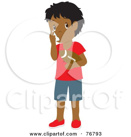 Hispanic Boy Holding A Football And Using His Asthma Inhaler Posters, Art Prints