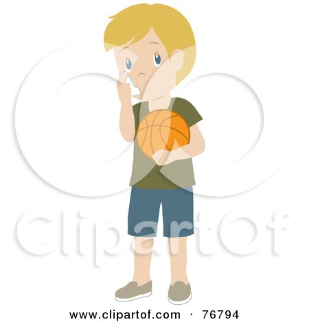 Caucasian Boy Holding A Basketball And Using His Asthma Inhaler Posters, Art Prints