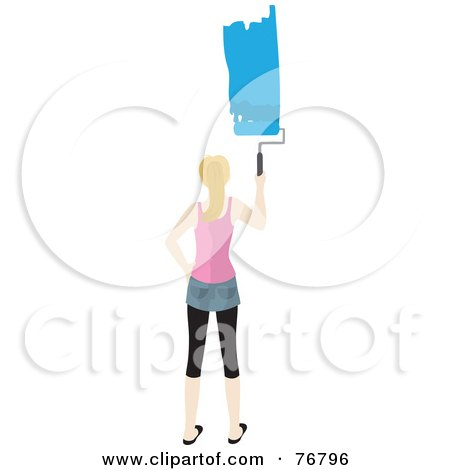 Royalty-Free (RF) Clipart Illustration of a Blond Caucasian Woman Painting A Stripe Of Blue Paint On A Wall by Rosie Piter