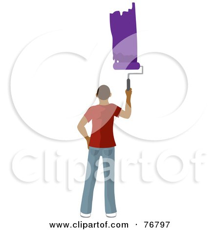Royalty-Free (RF) Clipart Illustration of a Hispanic Man Painting A Stripe Of Purple Paint On A Wall by Rosie Piter