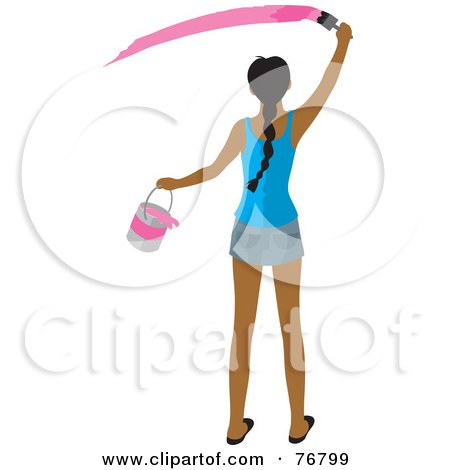 Royalty-Free (RF) Clipart Illustration of a Rear View Of AHispanic Woman Holding A Bucket And Painting A Slash Of Pink Paint On A Wall by Rosie Piter