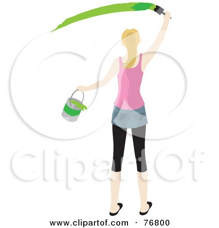 Royalty-Free (RF) Clipart Illustration of a Rear View Of A Caucasian Woman Holding A Bucket And Painting A Slash Of Green Paint On A Wall by Rosie Piter