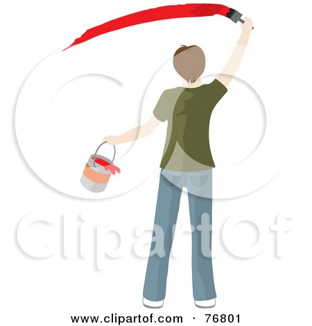 Royalty-Free (RF) Clipart Illustration of a Rear View Of A Caucasian Man Holding A Bucket And Painting A Slash Of Red Paint On A Wall by Rosie Piter