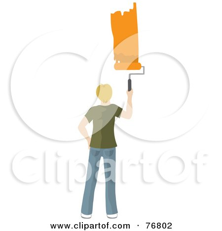 Royalty-Free (RF) Clipart Illustration of a Caucasian Man Painting A Stripe Of Orange Paint On A Wall by Rosie Piter