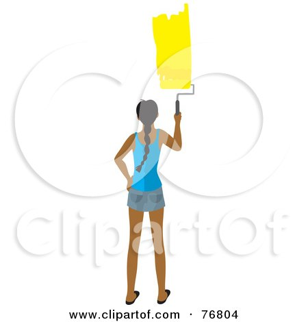 Royalty-Free (RF) Clipart Illustration of a Rear View Of A Hispanic Woman Painting A Stripe Of Yellow Paint On A Wall by Rosie Piter
