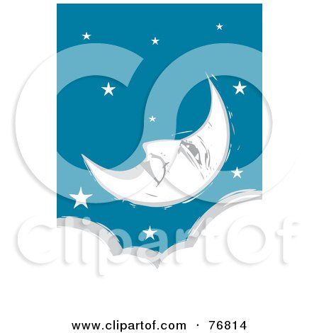 Royalty-Free (RF) Clipart Illustration of a Pleasant Crescent Moon Face Relaxing In A Starry Sky Over A Cloud by xunantunich