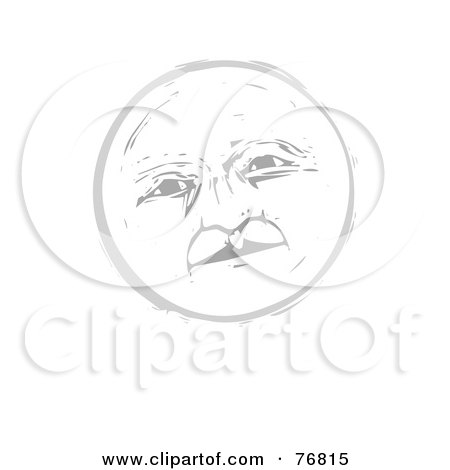 Royalty-Free (RF) Clipart Illustration of a Pleasant Gray Full Moon Face by xunantunich