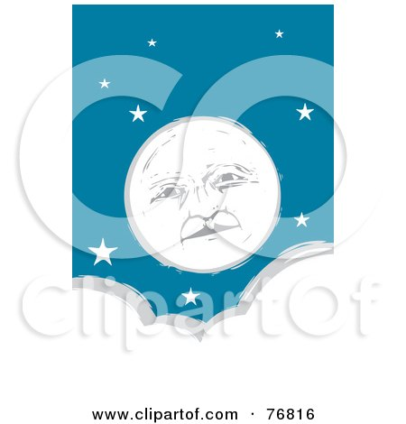 Royalty-Free (RF) Clipart Illustration of a Pleasant Full Moon Face In A Starry Sky Over A Cloud by xunantunich