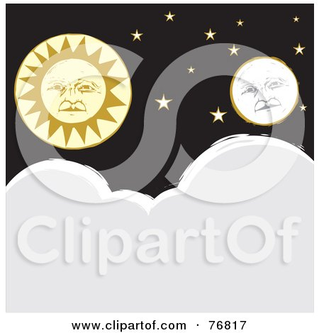 Royalty-Free (RF) Clipart Illustration of a Full Moon And Sun Faces With Stars Over Clouds by xunantunich
