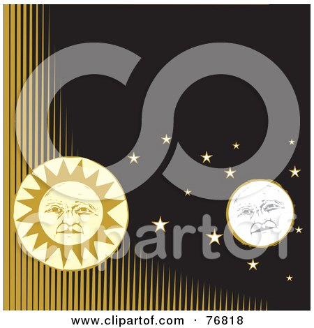 Royalty-Free (RF) Clipart Illustration of a Full Moon And Sun Faces With Stars In A Black Sky With Yellow Lines by xunantunich