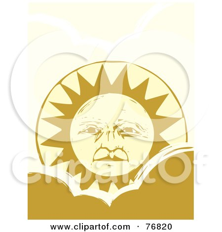 Royalty-Free (RF) Clipart Illustration of a Pleasant Yellow Sun Face Rising Over A Cloud by xunantunich