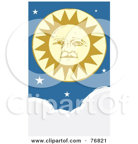 Royalty-Free (RF) Clipart Illustration of a Pleasant Yellow Sun Face With Stars Above Clouds by xunantunich