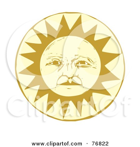 Royalty-Free (RF) Clipart Illustration of a Pleasant Yellow Sun Face by xunantunich