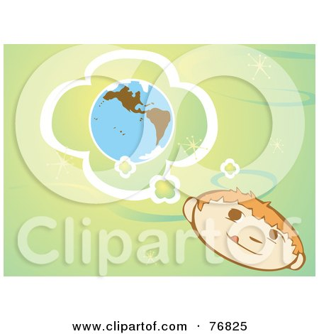 Royalty-Free (RF) Clipart Illustration of a Little Boy Pondering About The Earth, On A Green Retro Background by xunantunich