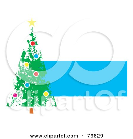 Painted Christmas Tree Over A Blue Text Box Posters, Art Prints