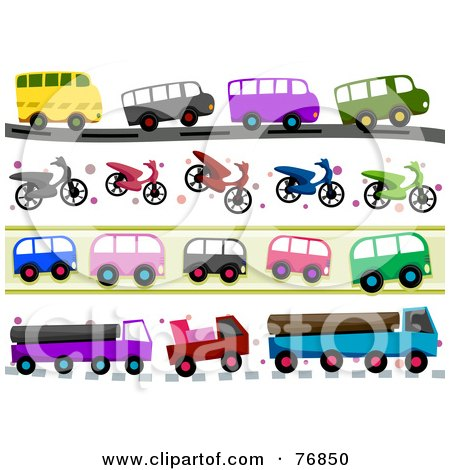 Royalty-Free (RF) Clipart Illustration of a Digital Collage Of Bus, Scooter And Big Rig Borders by BNP Design Studio