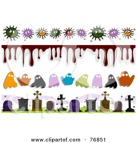 Royalty-Free (RF) Clipart Illustration of a Digital Collage Of Germ And Halloween Borders by BNP Design Studio