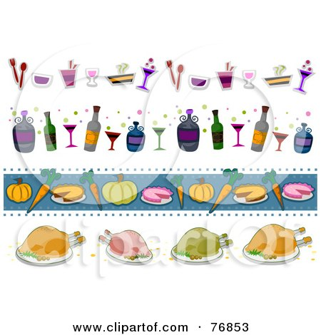 Royalty-Free (RF) Clipart Illustration of a Digital Collage Of Beverage And Food Thanksgiving Borders by BNP Design Studio