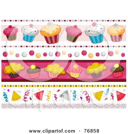 Royalty-Free (RF) Clipart Illustration of a Digital Collage Of Birthday Borders by BNP Design Studio