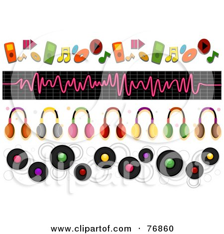 Royalty-Free (RF) Clipart Illustration of a Digital Collage Of Music And Headphone Borders by BNP Design Studio