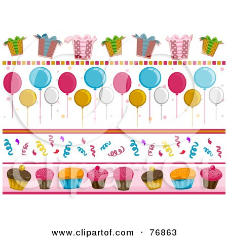Royalty-Free (RF) Clipart Illustration of a Digital Collage Of Birthday Party Borders by BNP Design Studio