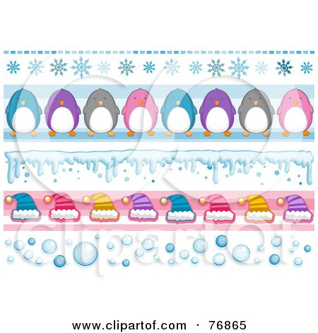 Royalty-Free (RF) Clipart Illustration of a Digital Collage Of Snowflake, Penguin, Snow, Hat And Bubble Borders by BNP Design Studio