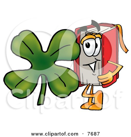 Clipart Picture of a Red Book Mascot Cartoon Character With a Green Four Leaf Clover on St Paddy's or St Patricks Day by Toons4Biz